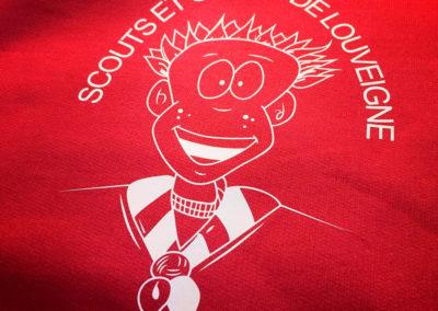 Impressions sur textiles pour les scouts et guides de Louveigné