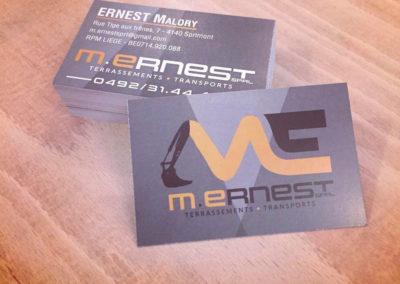 Cartes de visite pour la société Malory Ernest