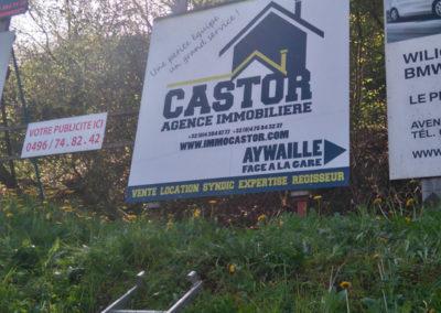 Impression et placement d'un panneau publicitaire pour Castor Immo