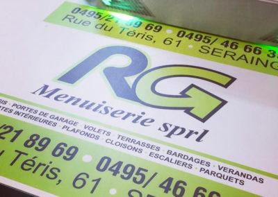 Impression de panneaux publicitaires pour RG Menuiserie