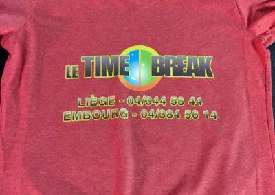 Impression sur t-shirts pour la taverne le Time Break