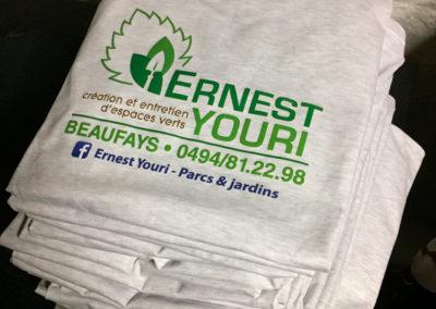 Impression sur t-shirts pour Ernest Youri