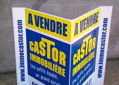 Impressions de panneaux alvéolaires en V pour l'agence Castor Immo