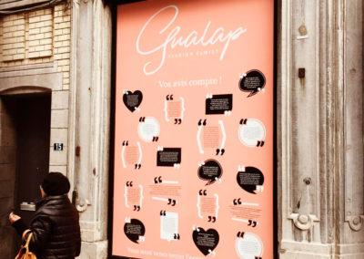 Lettrage de vitrine pour Gualap à Liège