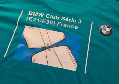Impression sur t-shirt pour le club BMW E21/E30 France