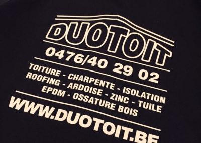 Impression sur vareuse du sponsor Duotoit