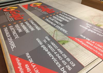 Impression de panneaux pour la société Gaja