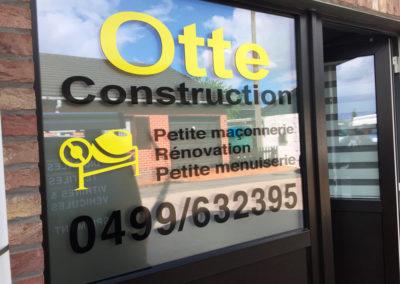 Lettrage de vitrine pour Otte Construction