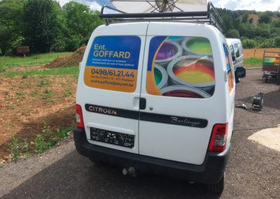 Lettrage de camionnette pour la société Goffard