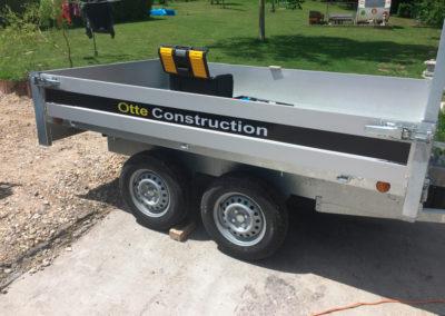 Lettrage sur remorque pour Otte Construction