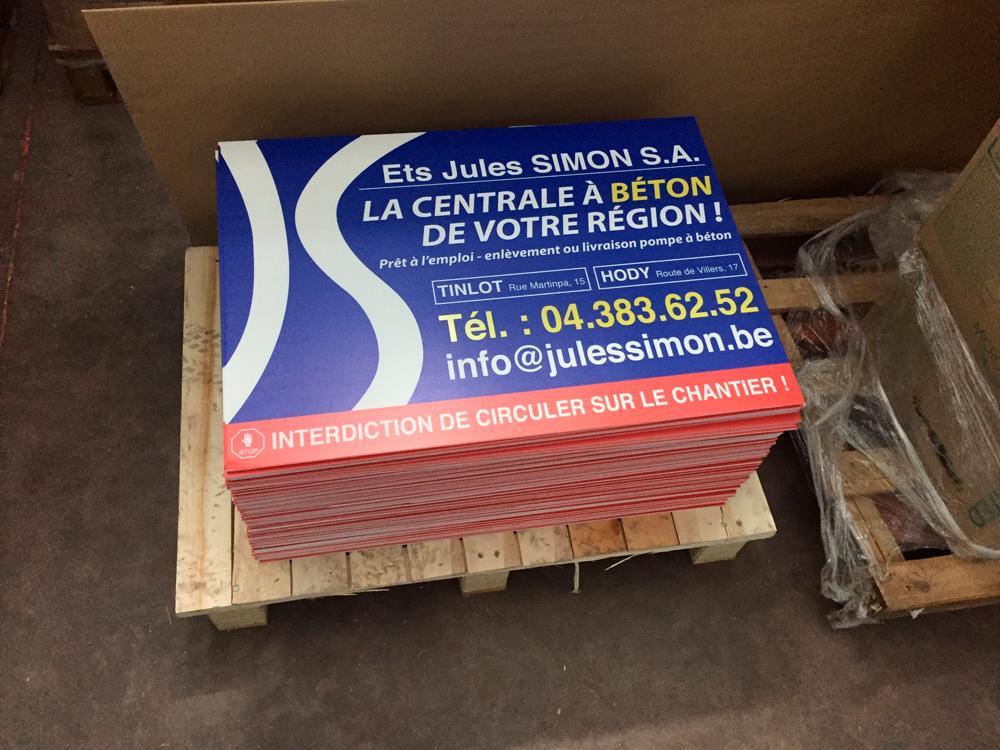 Impression sur panneaux alvéolaire pour la société Jules Simon