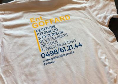 Impressions sur t-shirts pour la société Goffard