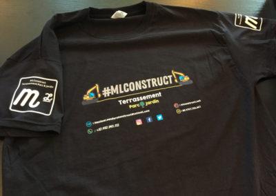 Impressions sur textiles pour la société ML Construct à Saive