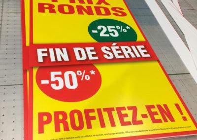 Impression sur panneaux alvéolaire pour des magasins Brico