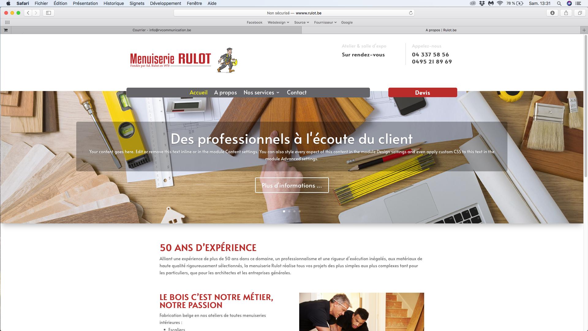 Site internet Menuiserie Rulot