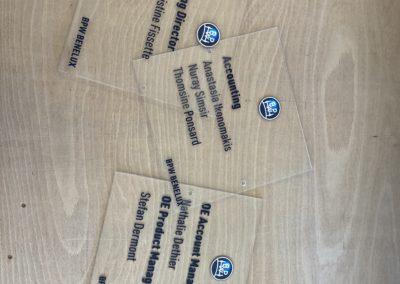 Plaquettes plexi pour BPW Benelux