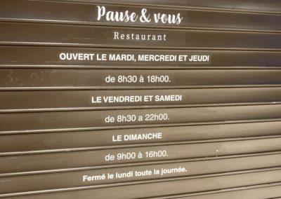 Lettrage pour la brasserie Pause & Vous