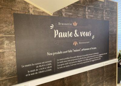Panneaux pour la brasserie Pause & Vous